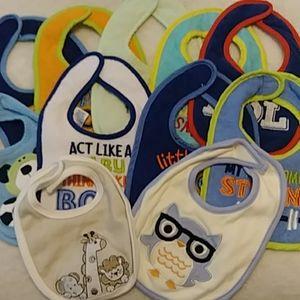 Baby Boy Terrycloth Bibs 👶 11 Piece Lot
